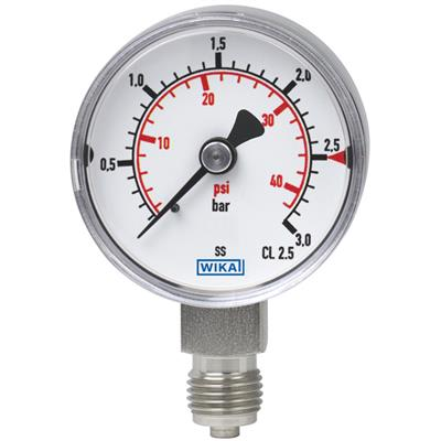 Bourdon Tube Pressure Gauge, Stainless Steel - 131.11